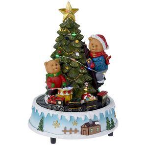Spieluhr Weihnachtsszene mit bunter LED-Beleuchtung, Bewegung und Musik 22cm