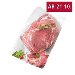 Frischer Schweinenackenbraten oder Schweinekoteletts mit Knochen, natur, je 1 kg