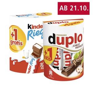 Ferrero duplo oder kinder Riegel 10er + 1 Riegel gratis, jede 200/231-g-Packung