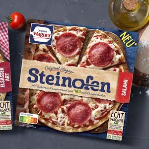Original Wagner Steinofen-Pizza Salami oder Flammkuchen Elsässer Art ? ? ? gefroren, jede 360/300-g-Packung und weitere Sorten