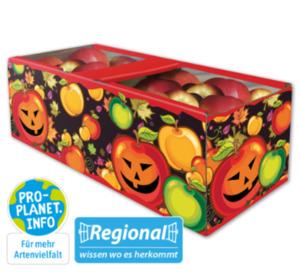 Deutsche rote Äpfel im Halloweenkorb