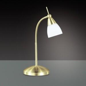 Paul Neuhaus Tischleuchte Pino klassisches Design, Flexarm, Opalglas, messing matt