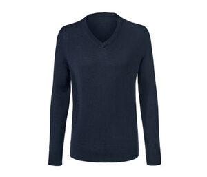 Merino-Pullover mit V-Ausschnitt, dunkelblau