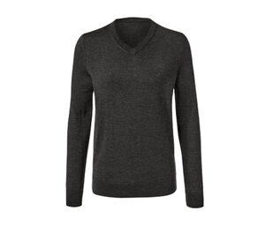 Merino-Pullover mit V-Ausschnitt, anthrazit