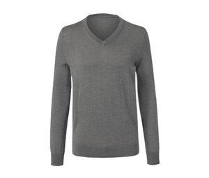 Merino-Pullover mit V-Ausschnitt, grau