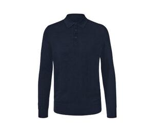 Merino-Pullover mit Polokragen, blau