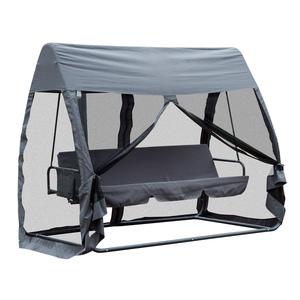 Outsunny Hollywoodschaukel 3-Sitzer mit Seitenwänden Grau 240 x 135 x 197cm
