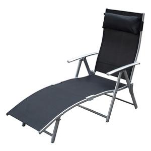 Outsunny Sonnenliege Strandliege Gartenliege Relaxliege klappbar mit Kissen Strand Metall + Stoff Sc