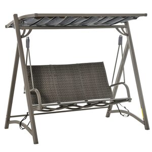 Outsunny 3-Sitzer Rattan Hollywoodschaukel mit verstellbares Sonnendach Aluminium Braun 197 x 122 x