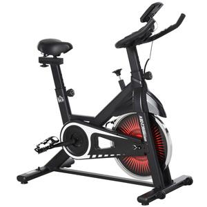HOMCOM Fahrradtrainer Indoor Heimtrainer mit 13KG Schwungrad Home Gym Rot+Schwarz 104 x 52 x 104-114