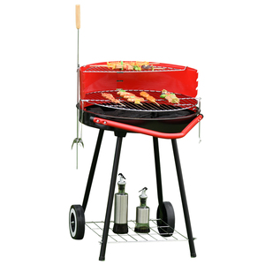 Outsunny Holzkohlegrill Rundgrill Standgrill auf Rollen mit Gitterrost BBQ Metall Rot