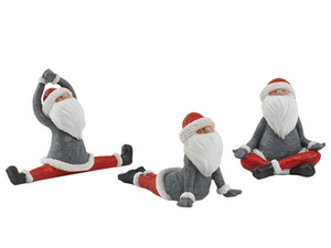 Pureday Deko-Figuren-Set, 3-tlg. Yoga-Santa