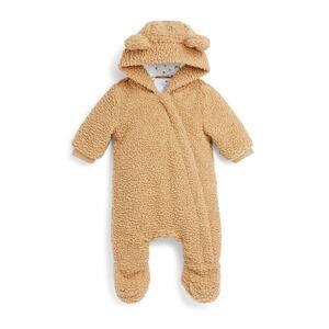 Brauner Teddy-Kuschelanzug für Neugeborene