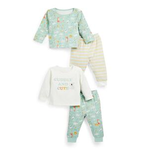Mintgrünes Jersey-Set mit Print für Neugeborene, 2er-Pack